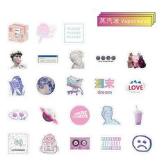 Vaporwave vibe stickers with pastels Perfect as laptop stickers Contains 46 pcs/box Sticker box is Kawaii Stickers, Laptop Stickers, Cute Stickers, Vaporwave, Printable Stickers, Planner Stickers, Free Printables, Scrapbook Stickers, Diy Scrapbook