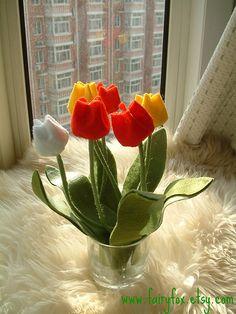 4x-Felt pattern- flower tulip