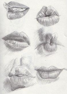 Desenhe lábios.