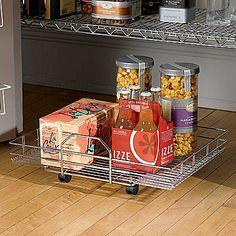 Chrome Roll-Out Floor Shelf