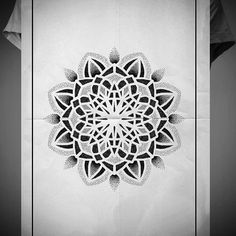 Search inspiration for a Geometric tattoo. Manga Mandala, Dot Work Mandala, Geometric Mandala Tattoo, Geometric Tattoo Design, Floral Tattoo Design, Mandala Tattoo Design, Mandala Art, Tattoo Designs, Flower Tattoos