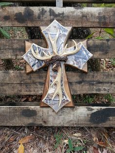 Real Tree Camo & Antler Wooden Cross Triple by DreamLoudCreations, $65.00