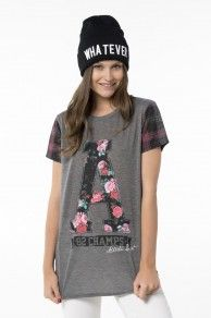 Fashion Tops For Girls Boyfriend Tee, Champs, Plaid, Tees, Floral, Clothes, Store, Girls, Fashion