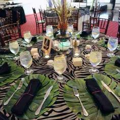Jungle themed dinner party table setting