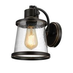 Globe Electric Charlie LED Outdoor Wall Sconce, Oil Rubbed Bronze Finish, Clear Seeded Glass Shade, LED Bulb Included, 44127 in Wall Lights. Outdoor Barn Lighting, Outdoor Wall Lantern, Porch Lighting, Outdoor Walls, Exterior Lighting, Basement Lighting, Cabin Lighting, House Lighting, Indoor Outdoor