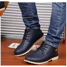 c858ef7202049 Fashion Mens Winter High Top Ankle Boots Casual Leather Shoes Sports Gym