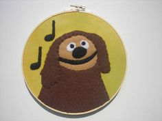 Muppets Rowlf the Dog felt embroidery