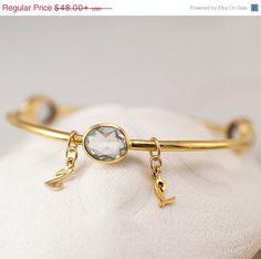50 OFF SALE - Personalized Charm Bangle - Clear Quartz Bracelet - Gemstone Bangles  - Initial Charm Bracelets
