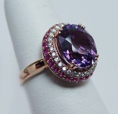 https://www.bkgjewelry.com/ruby-rings/220-18k-yellow-gold-diamond-ruby-solitaire-ring.html LEVIAN Amethyst Ruby Diamond Ring 14K Rose Gold Estate Jewelry