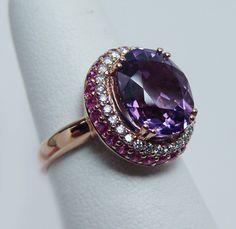 https://www.bkgjewelry.com/ruby-rings/220-18k-yellow-gold-diamond-ruby-solitaire-ring.html LEVIAN Amethyst Ruby Diamond Ring 14K Rose Gold Estate Jewelry