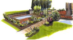 Marker pen design for a recent garden project. Ashley Thompson Garden Design
