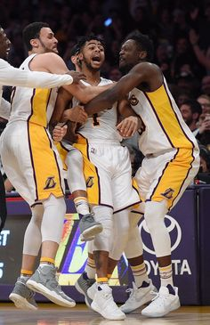 Lakers celebrating D Angelo Russell's game winning-shot vs the Timberwolves.  Apr9 2017