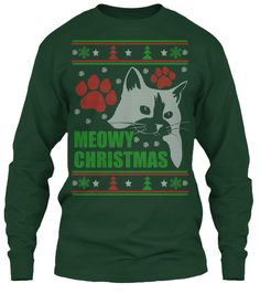 If I ever need an uglyxnas sweater, here it is! Meowy - Ugly Christmas Sweater-style Printed Tee!