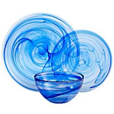 Pier 1 Cobalt Alabaster Dinnerware.  OK, I admit, I love colbalt blue glass and this swirly version is like the sea! Nice!