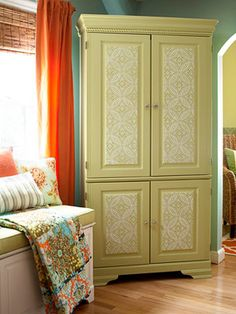 computer armoire makeover - Google Search Love the tin ceiling tile look on the doors