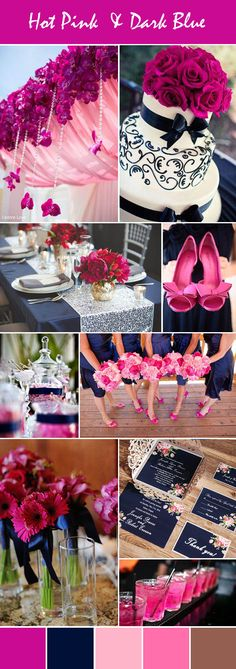 hot pink and dark blue wedding ideas