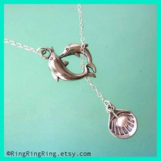 Genuine pearl & Dolphins necklace Sterling silver by RingRingRing, $29.00