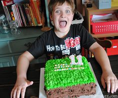 Jacob-excited-for-his-Minecraft-cake Do your kids LOVE Minecraft? Check this out! How to Make a Minecraft Grass Block Cake http://buff.ly/1zCttSq