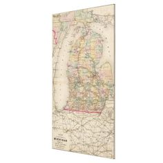 Vintage Map of Michigan (1873) Canvas Print