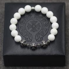Hot Sale Chrome Hearts Silver Cross Ball White Tridacna Beads Bracelet Gift for Her