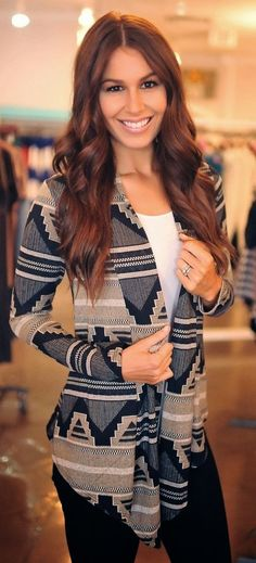 Aztec cardigan plus black jeans and white blouse - gimme this too