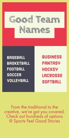 Good team names for sports teams, rec teams and business groups. Make your team stand out with a great name.  Great for baseball, baskettball, softball, soccer, lacrosse, football, volleyball, ultimate, kickball, trivia teams and more.
