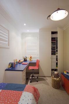 Clever storage integration for your little one's wardrobe and drawing desk. Walk In Wardrobe Design, Built In Wardrobe, Drawing Desk, Kitchen Desks, Bed Wall, Storage Solutions, Home Office, Corner Desk, Clever
