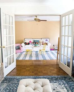 The Best Trick for Painting French Doors - Bless'er House Ektorp Sofa, The Doors, Art Deco, French Doors Patio, Diy Home Decor Bedroom, Room Decor, Relax, Home Repairs, Painted Doors