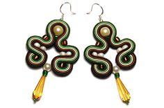 Sutasz soutache kolczyki zielone brązowe handmade - ForQueen - Kolczyki długie