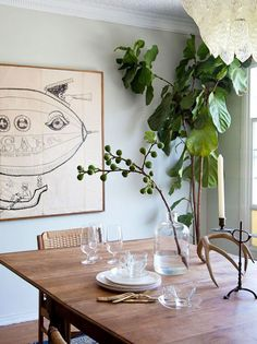 Beautiful dining area from SF girl by the bay Victoria Smith. Love the green wall!