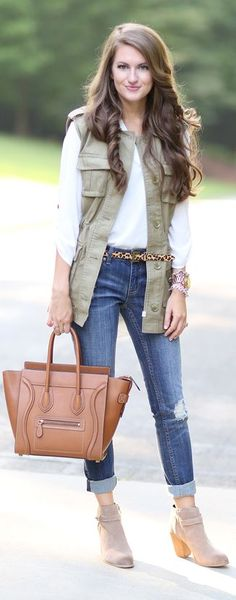 Green Utility Vest Outfit Idea by Southern Curls and pearls