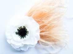 Ooh la la Black White & Peach Parisian Hair Flower Fascinator
