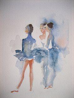 Love the looseness of this. Watercolor Portraits, Watercolor Print, Watercolor Paintings, Watercolours, Watercolor Techniques, Art Techniques, Ballet Art, Dance Art, Figurative Art