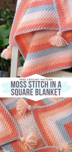 How to Crochet Moss Stitch in a Square Blanket - - Touch of Peach Baby Blankets are here! We, crocheters, love nothing more than mixing colors, right? With this in mind, we have created today's selection. Crochet Afghans, Motifs Afghans, Crochet Baby Blanket Free Pattern, Afghan Patterns, Crochet Stitches Patterns, Knit Crochet, Knitting Patterns, Knit Squares Blanket, Crocheted Baby Blankets