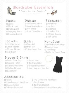 Wardrobe Essentials , اساسيات يجب ان تكون في خزانه ملابسك