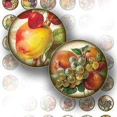 Victorian fruit ephemera digital collage bottle cap size 1 inch circles jewelry making paper supplies download file