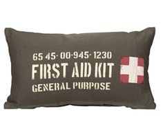 Sierkussen First aid kit Pillow Inspiration, Furniture Inspiration, Pak Army Quotes, Bed Pillows, Cushions, Gun Rooms, First Aid Kit, Kidsroom, Boy Room