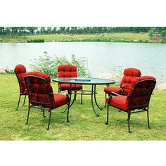 Mainstays Willow Springs 6-Piece Patio Dining Set, Red, Seats 5