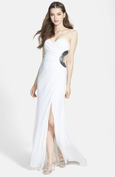 c57b6bedf94 Hailey Logan Embellished Cutout Strapless Gown (Juniors) (Online Only)