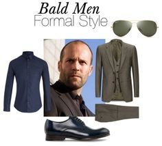Bald Men Formal And Evening Attire - Jason Statham Style Skull Fashion, Mens Fashion, Fashion Outfits, Navy Blue Pinstripe Suit, Bald Men Style, Suit Combinations, Classy Suits, Bald Man, Evening Attire
