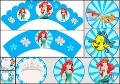 La Sirenita: Toppers y Wrappers para Cupcake para Imprimir Gratis.