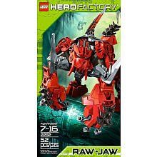 """LEGO Hero Factory RAW-JAW 2232 by LEGO. $24.50. Features elephant tusks and corrupted Quaza spike. Overpower the heroes and steal their armour. Stands 6? (16 cm) tall. 52. From the Manufacturer                """"Watch out heroes!  Recon has picked up a huge beast headed your way.  This monster has superhuman agility and speed that will test the strength of any hero… did we mention the corrupted Quaza spike on his back!?""""                                    Product Descrip..."""