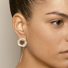 Shimara Carlow Yellow Gold Diamond Wrap Silver Earrings