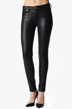 7 for all Mankind - crackle leather look jeans