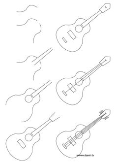 How to Draw a Dog Step by Step Instructions | learn how to draw a guitar with simple step by step instructions