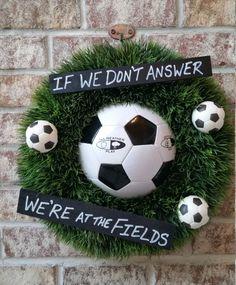 Grass Soccer Ball Wreath by GameDayCraftsByLori on Etsy