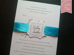 Kad Kahwin Malaysia Flat Wedding Card with Ribbon Belly Band and Tag