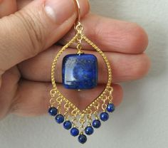 Lapis Earrings Gold Earrings Dandgling Earrings by jewelrybyirina, $37.50