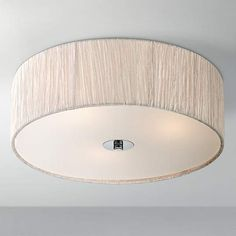 Chrome with Ivory-White Possini Euro Flushmount Ceiling - #EUU8349 - Euro Style Lighting