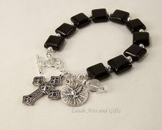 Rosary Bracelet Holy Spirit Black Onyx by LaudeArtsandGifts, $19.99